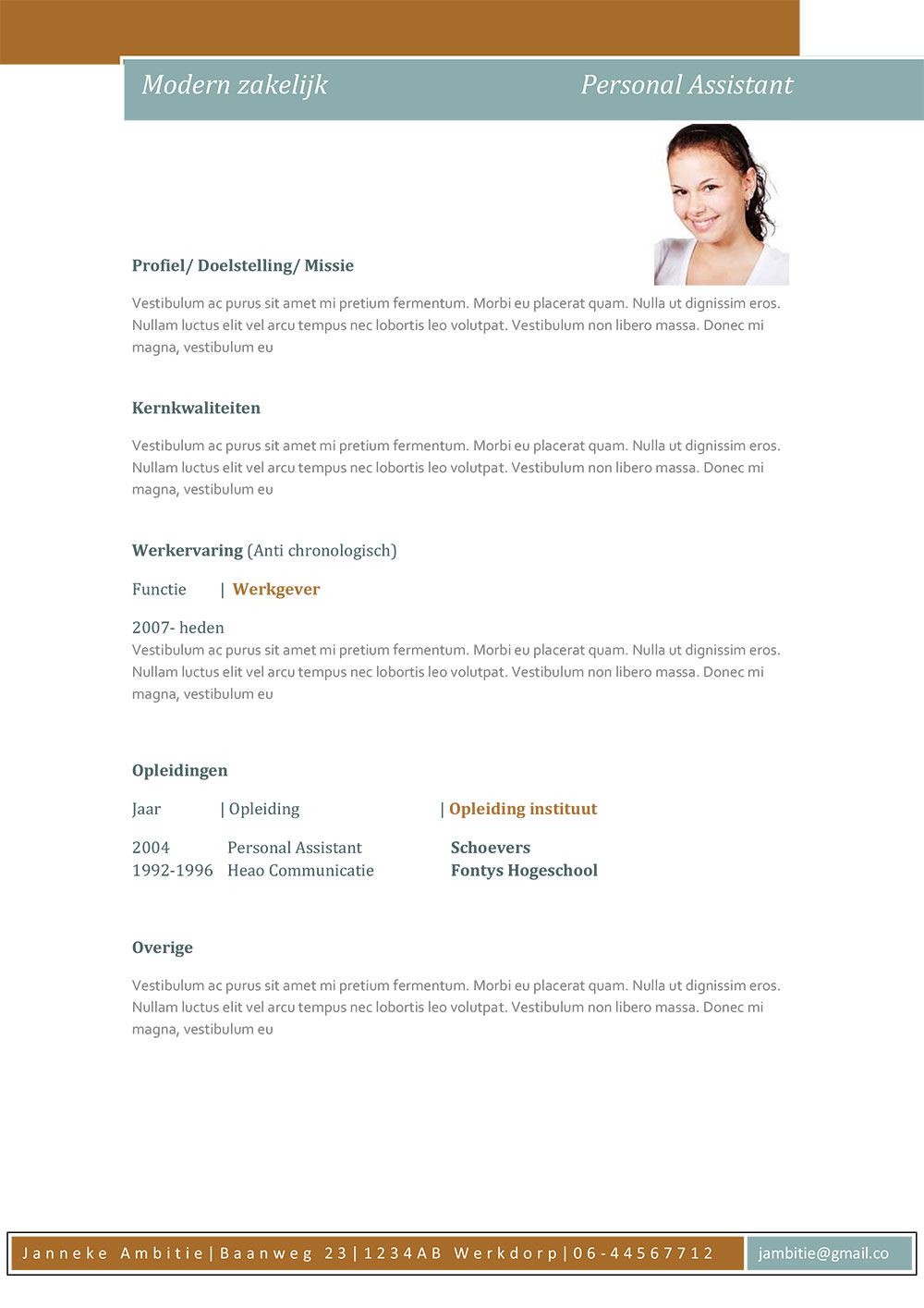 download gratis een cv lay-out